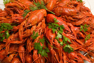 red boiled crawfish on a festive table