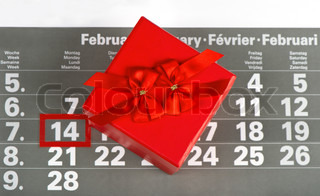 red gift for valentine's day 14 February on calendar background