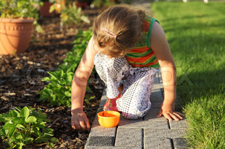 Small girl is helping in garden to weed up