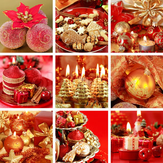 Collection of nine still live photos for Christmas in red tone