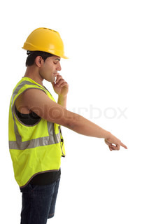 Construction worker or builder pointing down