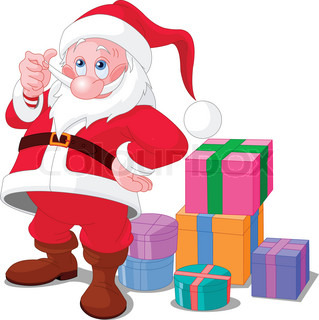 Cute smiling Santa Claus with gifts