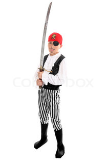 Full length boy wearing a pirate costume and holding a long swordeg halloween, play, costume party, theatre