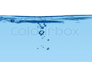 Blue water line with air bubbles isolated on a white background
