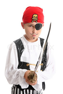Boy pirate wearing patch and bandanna and holding a sword