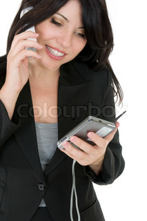 Courteous businesswoman phoning a client or other person