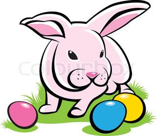 Bunny on the grass with Easter Eggs Illustration on white background