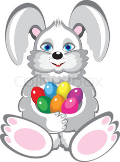 Bunny With Easter Eggs Illustration on white background