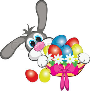 Bunny With Easter Eggs And Basket Illustration on white