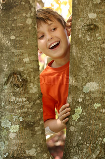 A young laughing boy looking through the bough of a tree covered in lichensLichens serve as indicators of air pollution In places of heavy pollution, few to no lichens are found Lichen populations increase gradually with distance from these polluted place