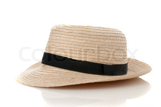 Straw hat withe black ribbon isolated on white background