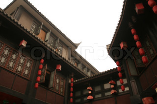 Chengdu , China , Chinesisch, traditionelles Haus, rot, Laterne, braun, Holz, Holz , Dach