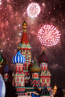 Fireworks ST BASIL CATEDRAL IN MOSCOW RUSSIA