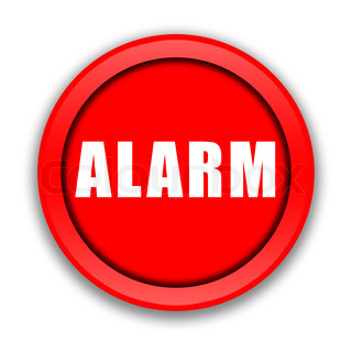 Big Red Alarm Button Over White Background Stock Photo