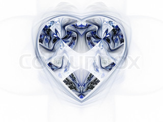 Fractal wintry heart, christmas or love theme
