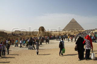 Crowd near the Sphinx and the Pyramids