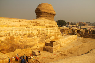 Workers at the Sphinx at Giza, Egypt