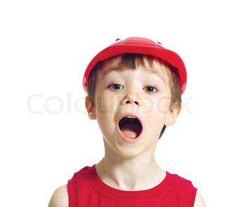 Little worker screaming with opened mouth isolated on white background