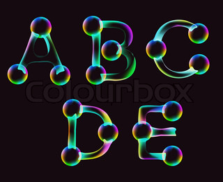 Cartoon font - letter from A to E, bright clip art