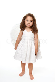 Divine little angel standing on a white background