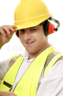 Friendly tradesmen tips his hat and smiles,