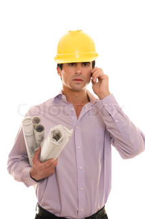 Architect with plans rolled up under armHe is busy talking with a client or staff on the phoneWhite background