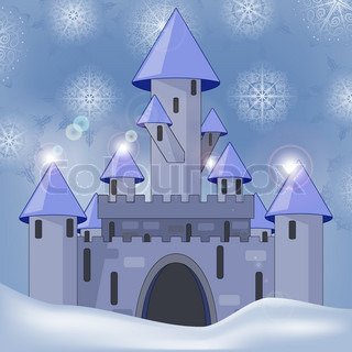 eps 10, vector cartoon castle in witer at night