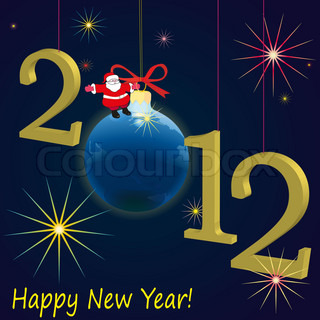 2012 New Year symbols  with Santa Claus with dark-blue background
