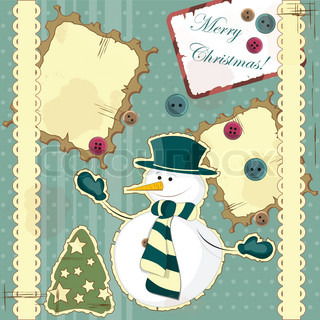 Christmas card in vintage style - a snowman on the hill