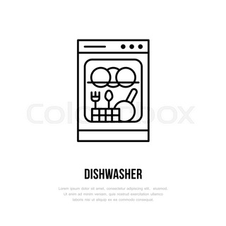 dishwasher clipart black and white. dishwasher flat line icon. household appliances sign. vector illustration of house equipment store or clipart black and white