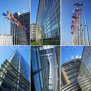 Collage - Building of European Parliament in Strasbourg (France)