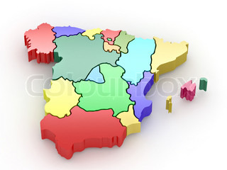 Three-dimensional map of Spain on white isolated background