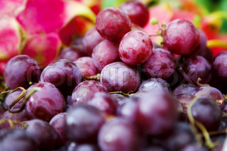 fresh nice grapes on the tropical market