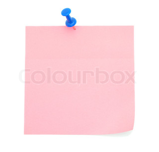Blank pink sticky note isolated on white background
