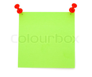 Blank Green Post-it Note with Push Pins isolated on white background