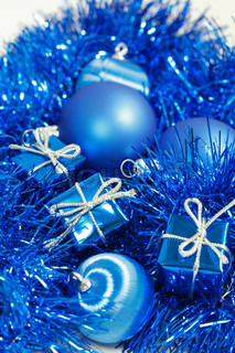 Christmas still life in blue tone