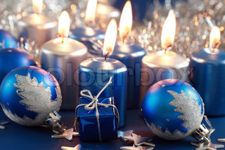 Christmas still life in blue and silver tone