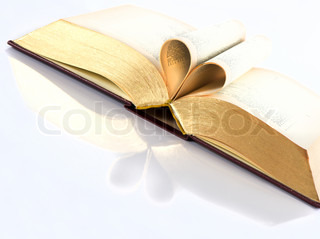 vintage open book with golden pages