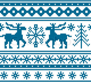 Seamless knitted christmas pattern, vector illustration