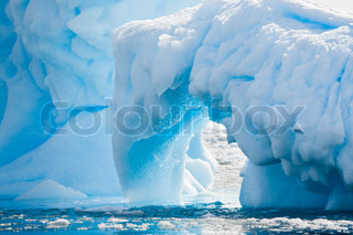 Antarctic glacier in the snow Beautiful winter background