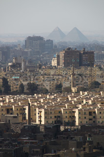 Cairo with the old Pyramids on the back