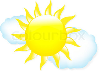 Sun With Clouds, Weather Symbols, Isolated On White Background, Vector Illustration