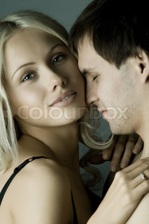 guy with pretty woman, happy couple, very close face, girl look on camera