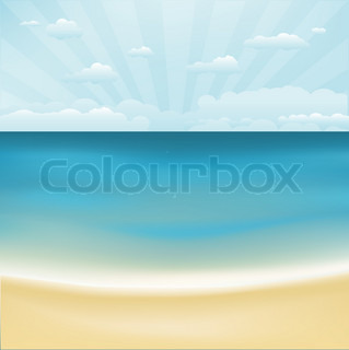 Beach And Topical Sea , Vektor-Illustration