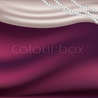 Pearls Necklace On Silk Fabric, Vector Illustration
