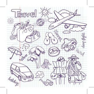 Hand drawn travel doodles Vector illustration