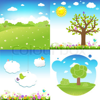 4 Set Cartoon Landscape, Vector Illustration