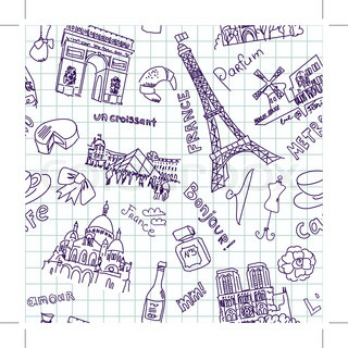 Sightseeing in Paris doodles. Seamless Background