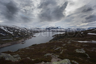 Dark afternoon at Hardangervidda, a mountain area between the eastern and western Norway