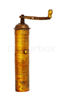 antique coffee grinder over white background